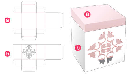 Rectangular box with stenciled cover die cut template