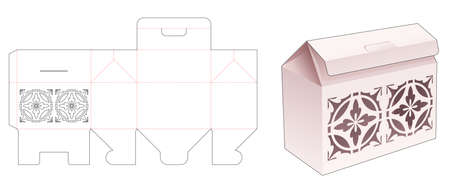Flip bag box with stenciled pattern die cut template