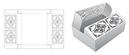 Middle opening box with stenciled pattern on flips die cut template
