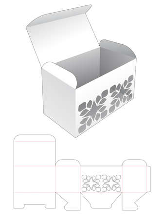 Box with stenciled pattern die cut template