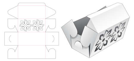 Folding box with stenciled pattern die cut template