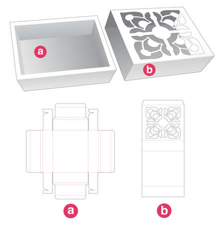 Tray with cover which has stenciled pattern die cut template