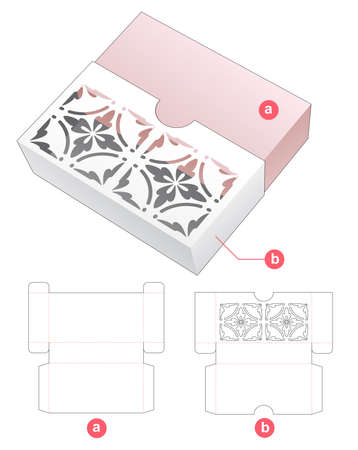 Sliding box with stenciled pattern on cover die cut template