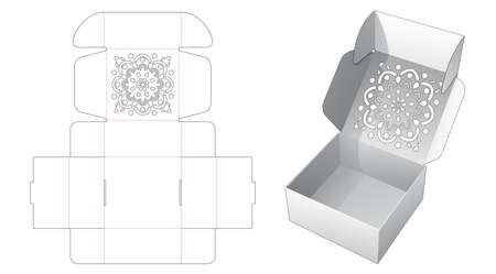 Folding cake box with stenciled mandala pattern die cut template