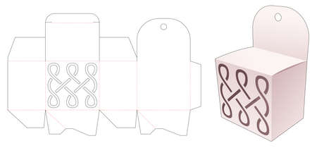 Mini box and hang hole with stenciled curve line die cut template
