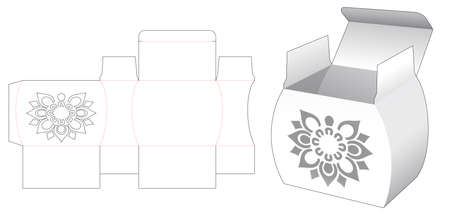 Jar shaped box with stenciled mandala pattern die cut template