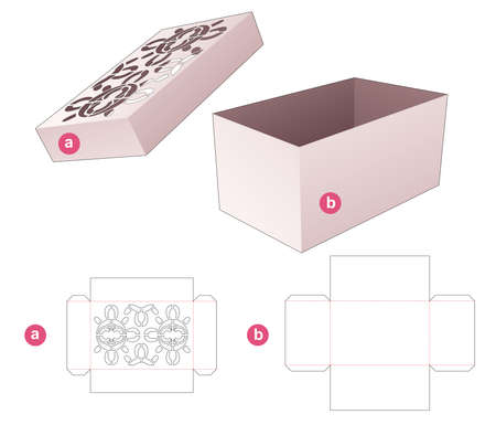 Box and lid with stenciled mandala pattern die cut template