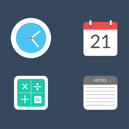 calender icon: Icon Flat Design (Clock, Calender, Calculator, Notes) Illustration