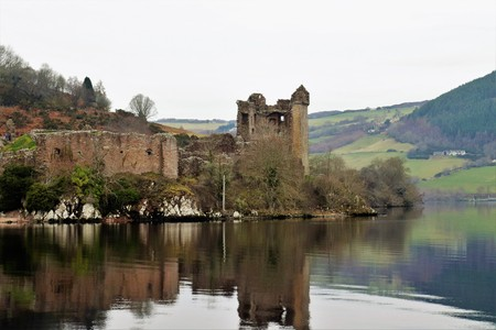 NESS LAKE CASTLE Stock Photo