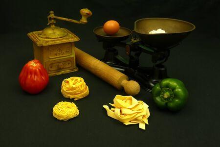 ingredient set for italian pasta