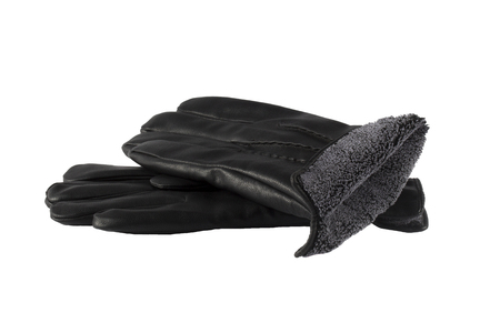 leatherette: Black leather leatherette gloves on a white background. Stock Photo