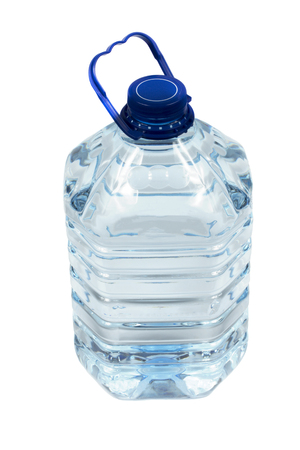 liter: 5 liter (gallon) of drinking water. In the plastic bottle on white background.