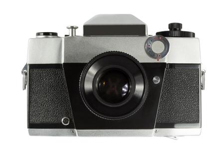 reflex: Old-fashioned reflex camera. Isolated on white background.