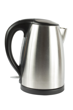 electric kettle: Stainless electric kettle. Isolate on white background. Stock Photo