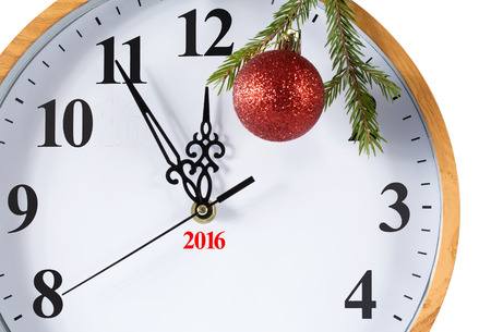 five to twelve: Happy New Year! New Year is approaching. The clock at five minutes to twelve. Isolation on a white background. Clipping path. Stock Photo
