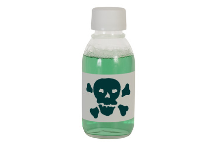 intoxicate: A jar of poison green. Isolation on a white background. Clipping path.