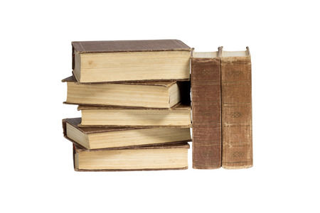 anecdote: A stack of old-fashioned books on a white background. Clipping path.