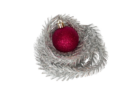 trumpery: Red bauble with tinsel. Isolation on a white background. Clipping path.