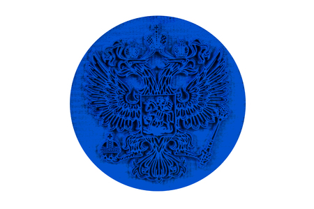 double headed: The double headed eagle (Russian coat of arms) in the rubber stamps. Isolation on a white background.