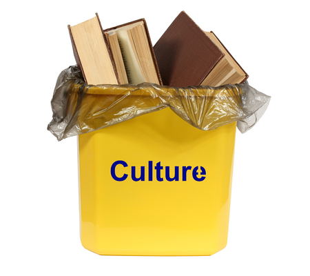 leavings: Culture in the bin. Isolation on a white background. Clipping path.