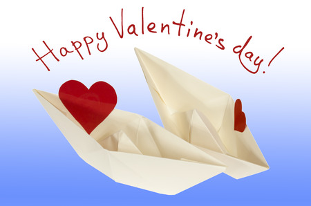felicitation: Happy Valentine day! Love boat (Two hearts on a paper boat). The contours of text and image clipping path. Stock Photo