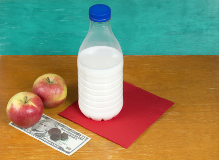 pauperism: Still life. Milk, apples and money