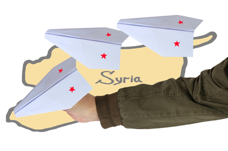 ceasefire: Syria. Russian planes (aircraft). Isolation on a white background. Collage.
