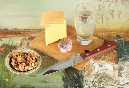 collation: Cheese, garlic and walnuts Stock Photo