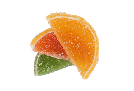 comfit: Colored candied fruit (Comfit). Isolation on a white background. Clipping path. Stock Photo