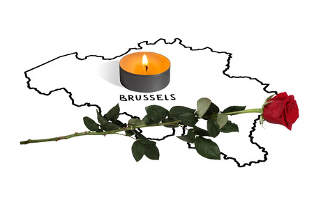 Brussels. March 22 act of terrorism. Isolation on a white background.