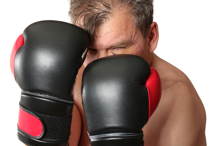 pugilist: Boxer in stance. Isolation on a white background. Clipping path.