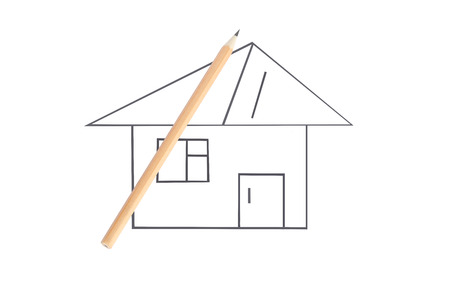 pape: Architectural project (house) and pancil. Isolation on a white background. Stock Photo