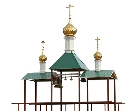 traditonal: Christian belfry with bells. Isolation on a white background. Clipping path. Stock Photo