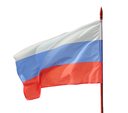 flaunt: Russian flag flutter on the wind. Isolation on a white background. Clipping path.