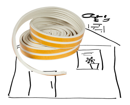 sealing tape: Construction Materials. Sealing tape for Windows and doors in a roll