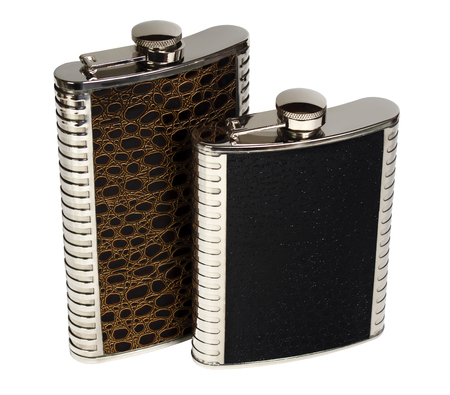hip flask: Two souvenir hip flask. Isolation on a white background.