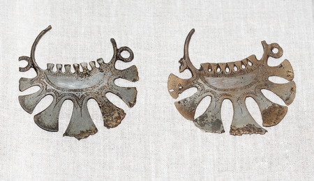 Pair of ancient russian silver temporal pendants. (earrings) Vintage zhevelery of Vyatichs vumen