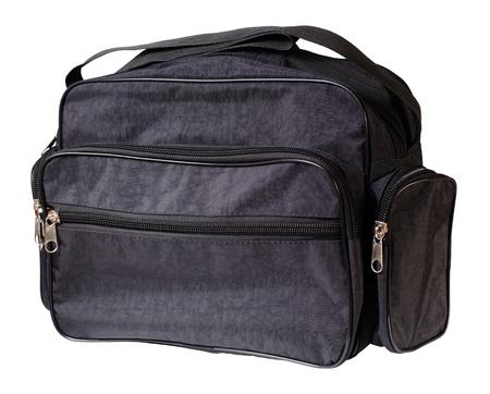 Black nylon single shoulder sports bag. Isolation on a white background Stock Photo