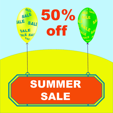 Summer Sale vector illustration. Holiday promotional design element with balloons. Illustration