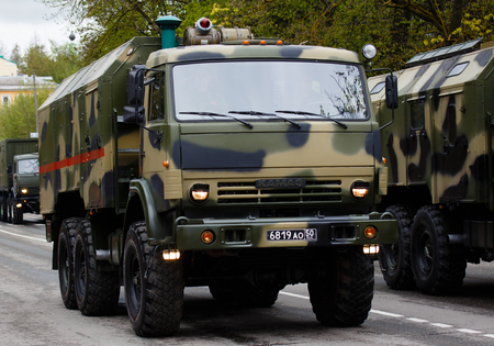 RUSSIAN, KOZELSK, MAY 9, 2017, Victory Day, May 9. Military Parade on anniversary of Victory in Great Patriotic War. Military vehicle army truck KAMAZ.