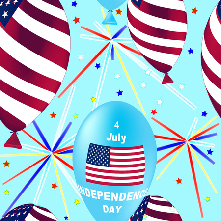 banger: US Independence Day Seamless Pattern. Flying Rubber Balloons in Colors of the USA Flag. Ornamental wallpaper. Illustration for backgrounds
