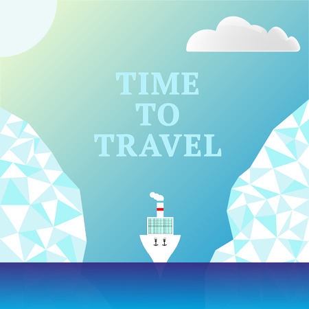 Summer cruise. It is time to travel. Sea and ship. Ice polygonal illustration for ad banner, poster. Space for text. Vector illustration