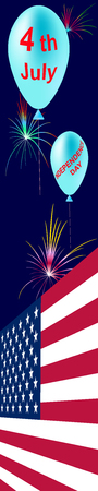 Vertical banner skyscraper. USA Independence day colored background 4th of july with flag, firework and balloons. Vector