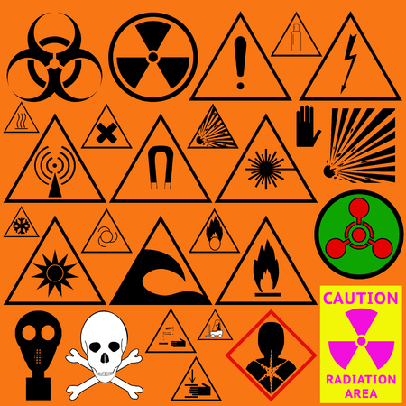 Set of hazard symbols. Biological dangerous, Ionizing radiation, chemical weapon, poison, carcinogen and other. Vector illustration