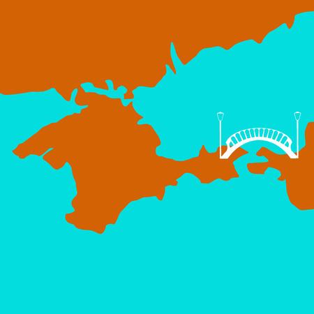 Bridge to Crimea. Vector illustration