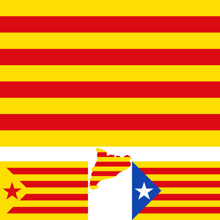 autonomía: Map and flag of Catalonia. Blue estelada. Socialist Independentist red estelada.  Vector illustration