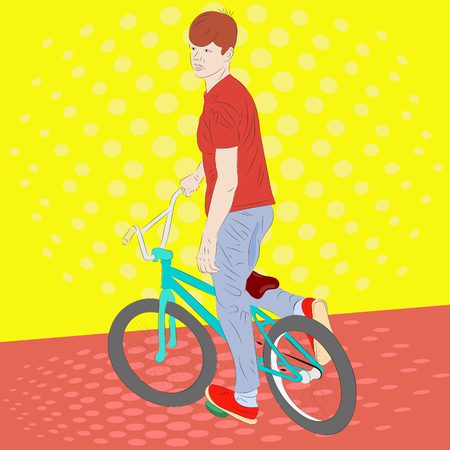 Pop art. Teenager boy on a bicycle. Realistic vector illustration
