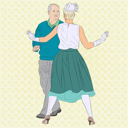 Una mujer detiene a un hombre. La imagen conceptual se puede ver en el contexto de amor, celos, separación, adicción y otras relaciones. También se puede interpretar como un baile. Ilustración de vector realista retro de arte pop.
