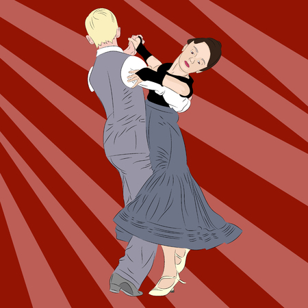 Ballroom dancing. A young couple, a boy in a stylish strict suit and a girl in a beautiful evening dress dance a waltz. Realistic vector illustration