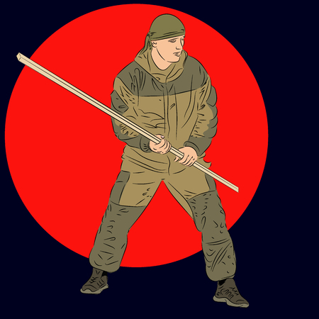 Army commando with staff. Man practicing martial arts with a pole. Vector realistic Illustration